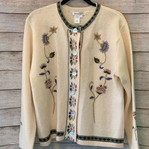 NWT Coldwater Creek Wool embroidered sweater